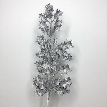 Silver Glitter Holly 68cm
