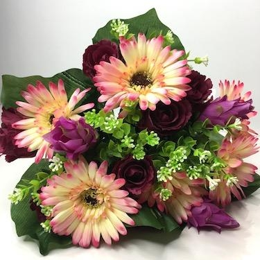 Beauty Gerbera And Rosebud Bush 38cm