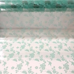 Mint Bird Blossom Cellophane 100m