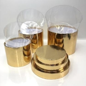 Gold Sheen Hat Box Set Of 3