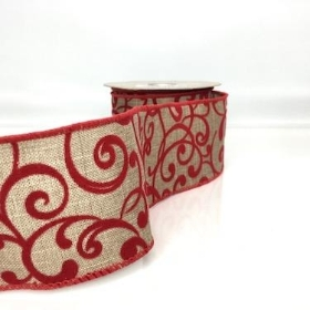 Natural Ribbon Red Swirl 60mm