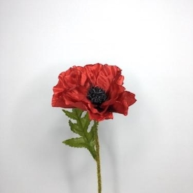 Red Poppy Stem 57cm
