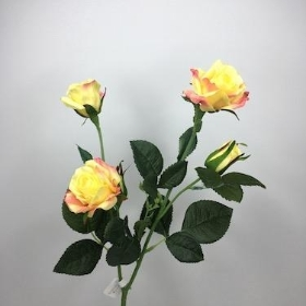 Yellow With Pink Spray Rose 59cm