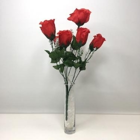 Red Rosebud Bush 8 heads 38cm