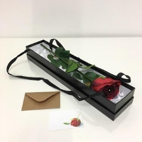 Single Artificial Red Rose In Gift Box