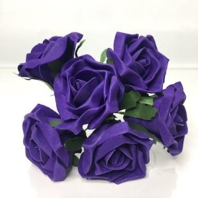 Purple Foam Rose 6cm x 6