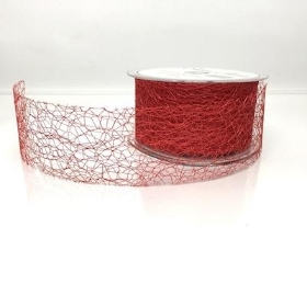 Red Deco Web Ribbon 50mm