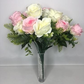 Ivory And Pink Rose Bush 38cm