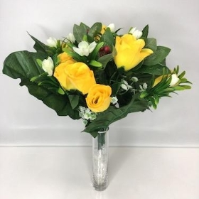 Yellow Rosebud And Berry Bush 37cm