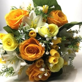 Yellow Rose And Lily Bush 37cm