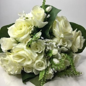 Ivory Rose And Orchid Bush 37cm