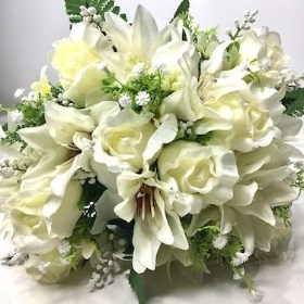 Ivory Clematis And Rosebud Bush 37cm