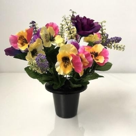 Artificial Grave Arrangement Pansy And Purple Rose & Grave Pot Arrangements