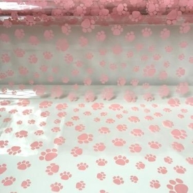 Pink Paw Print 100m Cellophane Roll