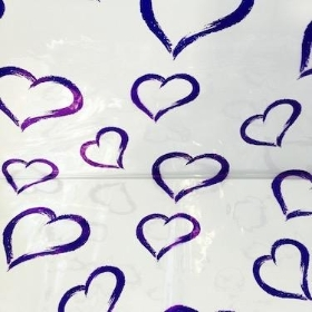 Purple Hearts Cellophane Wrap 100m